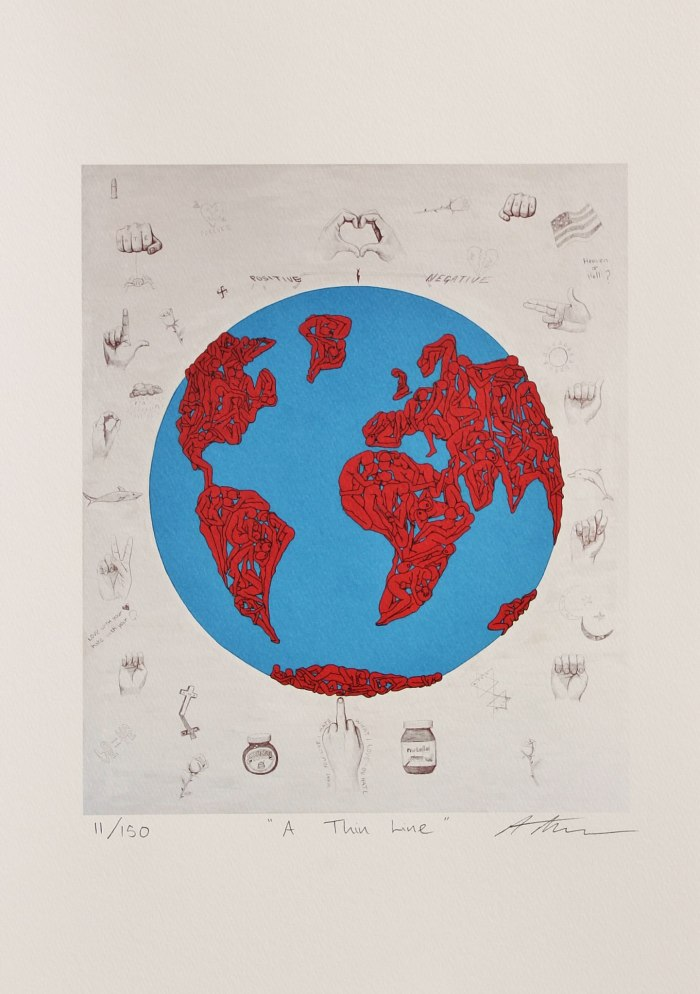 It's a thin line between love and hate limited edition signed lithograph Anthony moman