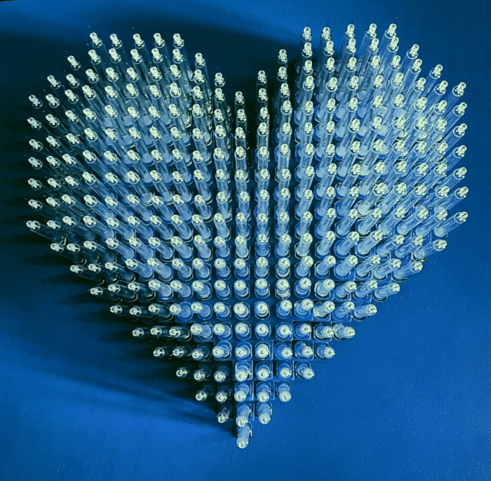 love is the drug blue syringe heart moman