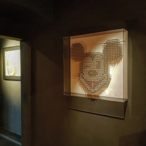 Mickey Mouse sculpture by Anthony Moman and Marilyn by Andy Warhol in Futura Gallery Pietrasanta