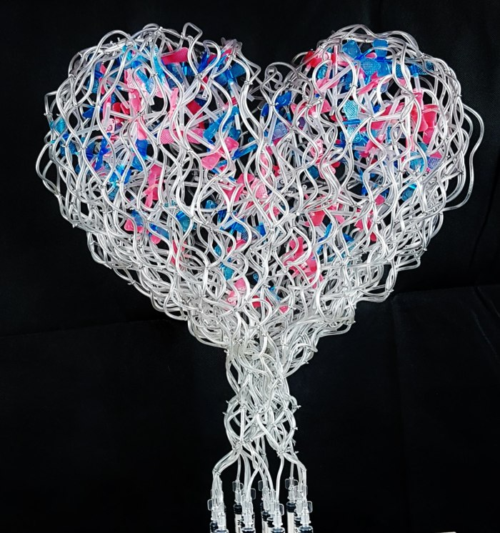 Lovesick sculpture made with butterfly intravenous syringes